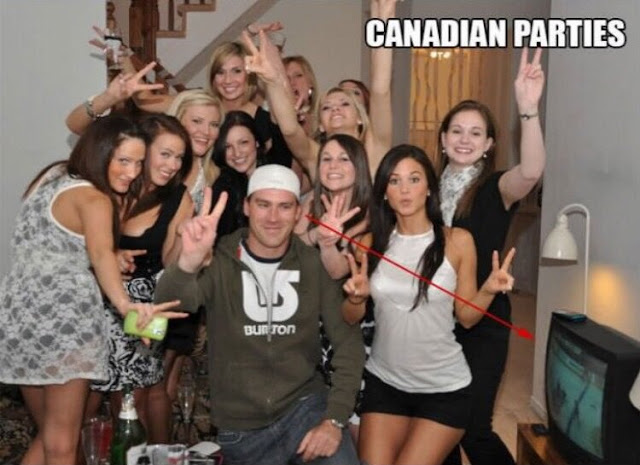 If Canadian parties have 11 women for every guy that would be a great place to watch hockey games.