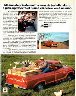 Propaganda  Pick-up Chevrolet - 1973, Chevrolet década de 70, anos 70, GM, Oswaldo Hernandez, carros antigos,