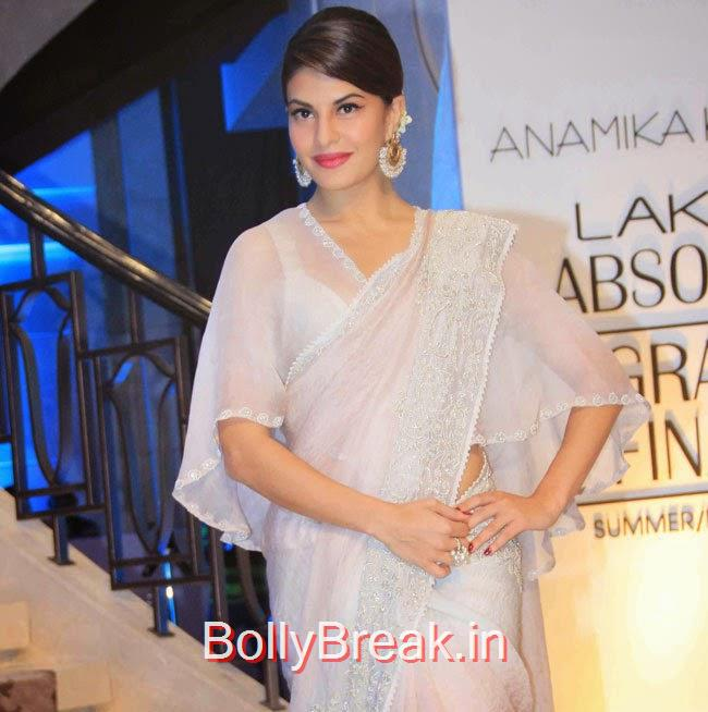 Jacqueline Fernandez Unseen Stills, Jacqueline Fernandez in White Saree at Lakme fashion Week 2015