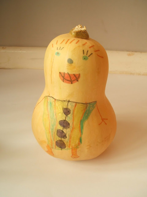 child's drawing on butternut squash vegetables