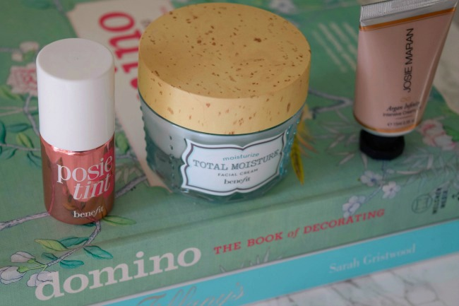 benefit posietint - benefit total moisture cream - josie maran argan oil - josie maran infinity cream