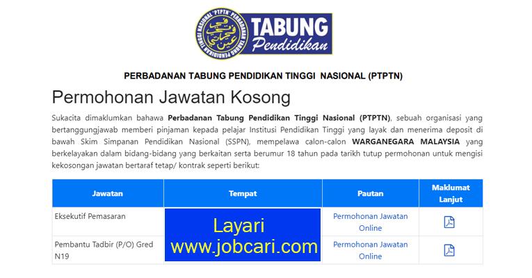 Jawatan Kosong di PTPTN - Permohonan Dibuka Dapatkn Borang