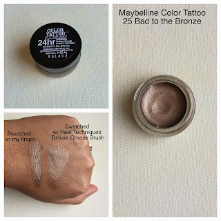 Maybelline color tattoo 25 bad to the bronze review and swatch on dark skin (woc)