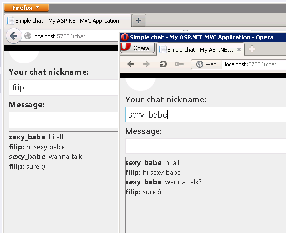 The simplest chat ever with SignalR (and Asp Net MVC) | Filip's