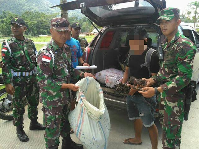 4 Orang Ditangkap, Satgas Pamtas Yonif Para Raider 328 Amankan 143 Kg Vanili Illegal
