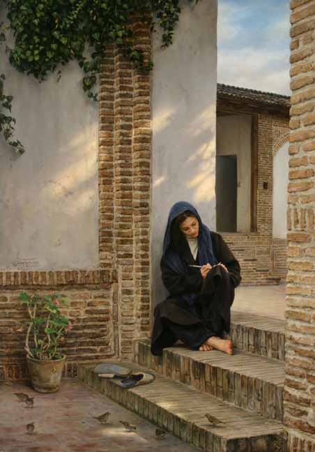 Women sitting at House Steps Life Paintings