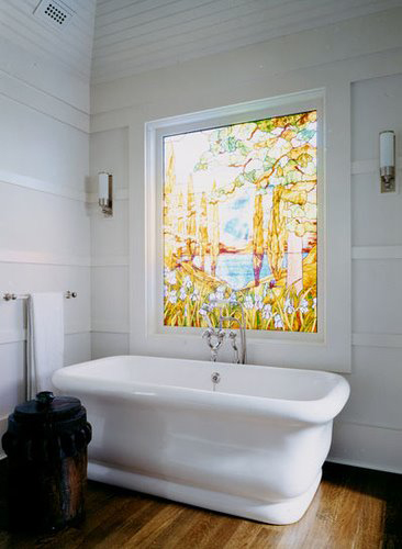 Stained Gl Windows In The Bathroom