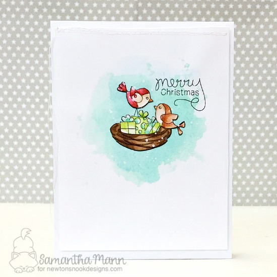 Bird Christmas Card by Samantha Mann | Holiday Tweets Stamp Set by Newton's Nook Designs #newtonsnook