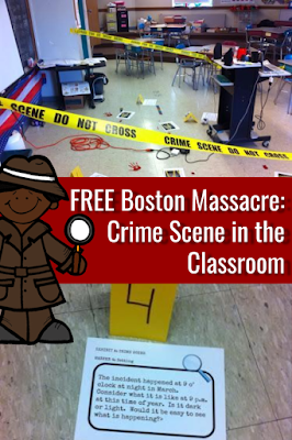 Engage you students with this super fun Free Boston Massacre Crime Scene in the Classroom Activity for Kids!