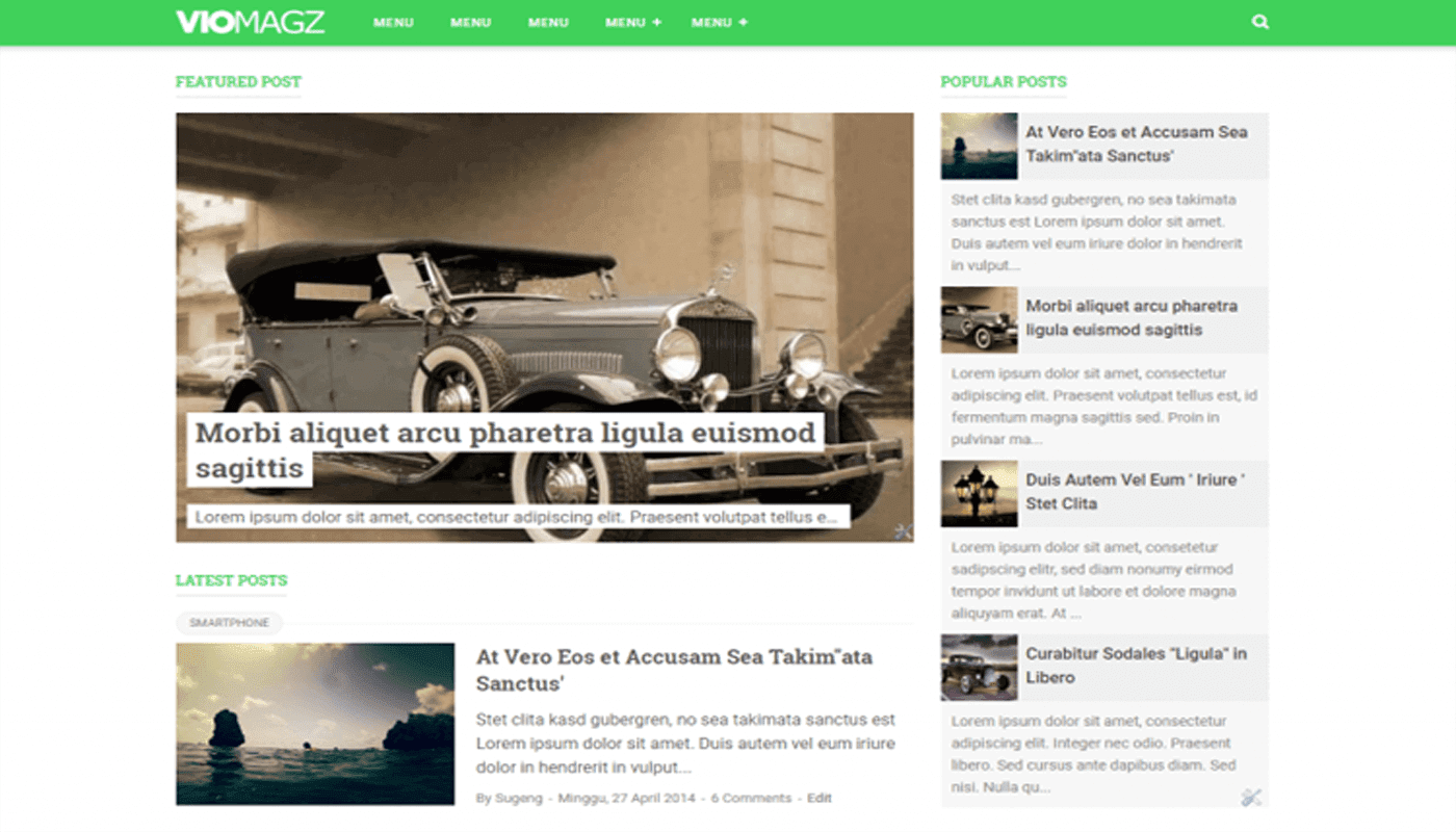 Download Gratis VioMagz Blogger Template Premium