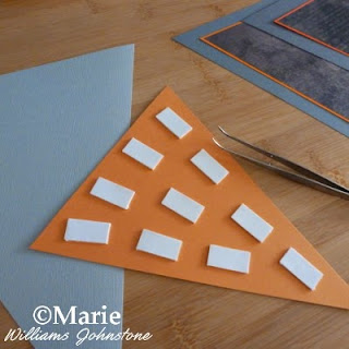 3D foam pads or squares are used to mount up the paper, craft tweezers help to take the backs off