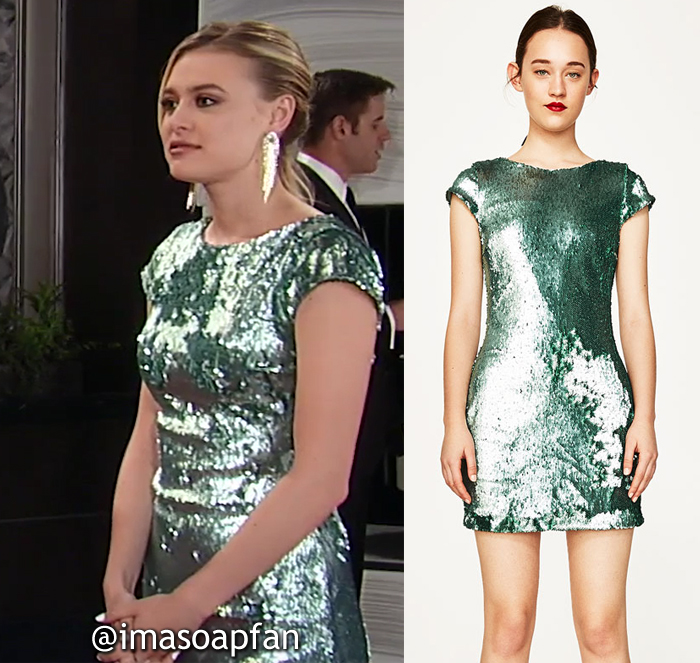 Kiki Jerome, Hayley Erin, Sea Green Sequined Mini Dress, Zara, Nurses Ball, General Hospital, GH