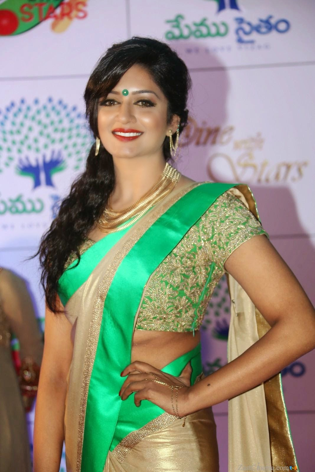Actress Vimala Raman Latest Cute Hot Exclusive Beautiful Saree Navel Show Spicy Photos Gallery At Memu Saitam Dine With Stars Event