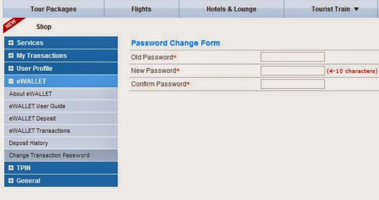 irctc change password