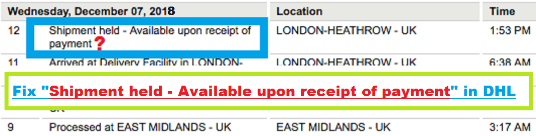 Epayments Dhl Co Uk >> Fix Shipment Held Available Upon Receipt Of Payment In