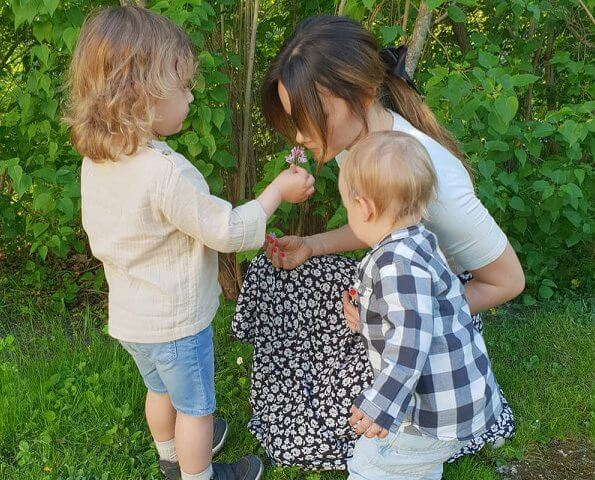Swedish Princess Sofia with her sons Prince Alexander and Prince Gabriel in celebration of Mother's Day in Sweden