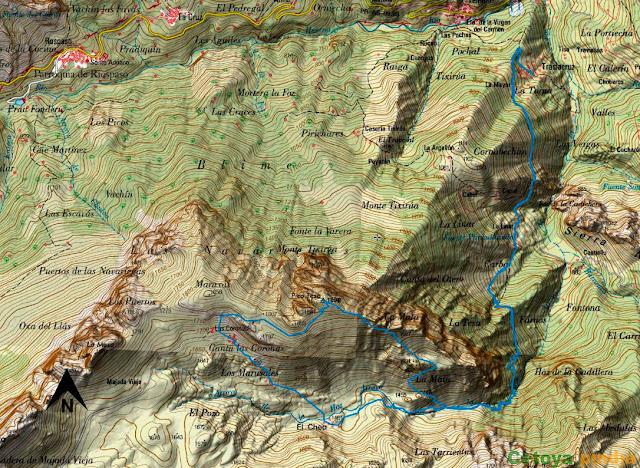Mapa de la ruta al Pico La Tesa en el Parque Natural de Ubiñas-La Mesa