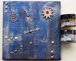 Pebeo gilding wax over metallic paints and black gesso