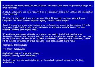 مشكلة الشاشة الزرقاء والحصول على تقرير عن هذه المشكلة