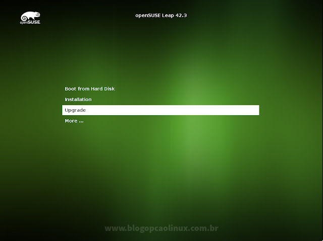 Tela de boot do openSUSE Leap 42.3
