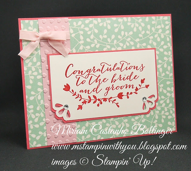 Miriam Castanho-Bollinger, #mstampinwithyou, stampin up, demonstrator, dsc, wedding card, bridal shower card, pretty petals dsp, for the new two stamp set, heat embossing, curvy corner trio punch, su