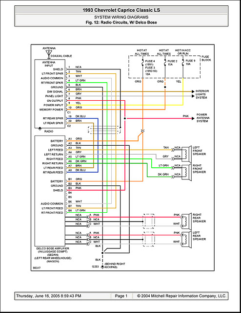 V Manual  System Wiring Diagrams Radio Circuits W   Delco Bose On 1993 Chevrolet Caprice Classic Ls