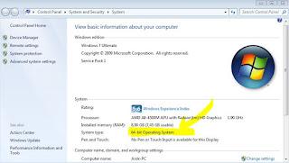 cara melihat versi windows 32bit dan 64bit