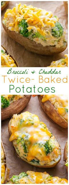 Broccoli and Cheddar Twice Baked Potatoes