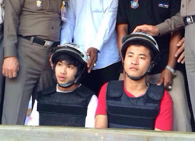 Wai Phyo, left, and Zaw Lin on Oct. 3, 2014, shortly after their arrest on Koh Tao.