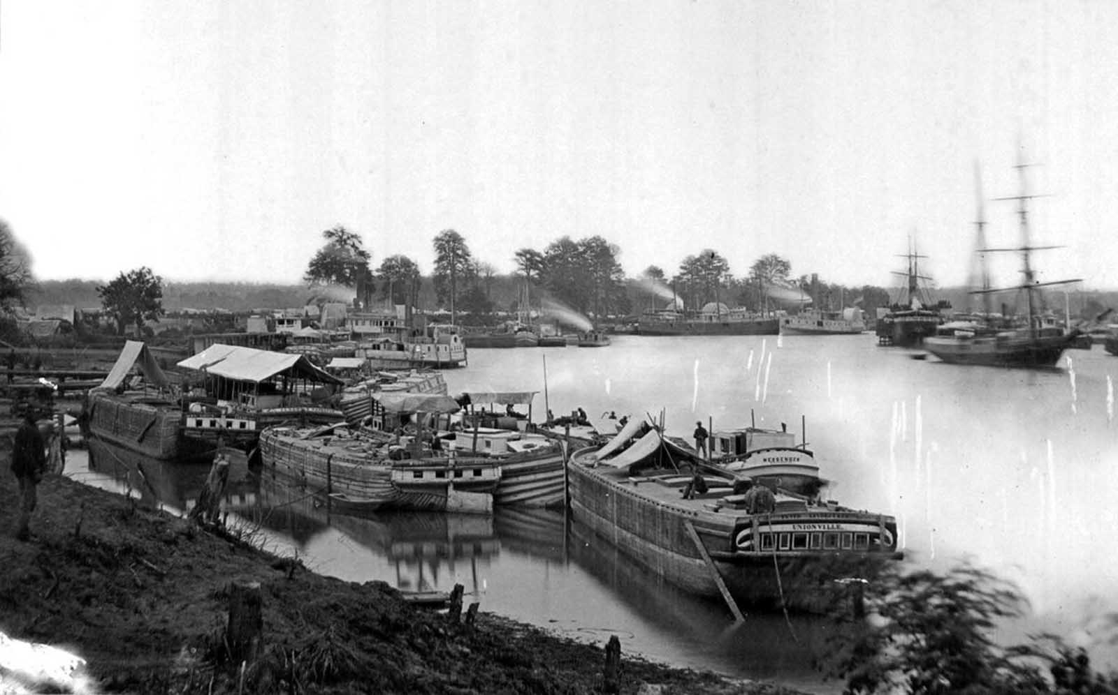 White House Landing, on the Pamunkey river, Virginia. The site was a major Union Army Supply Base in 1862 ,during the Peninsula Campaign.