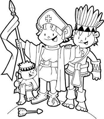dibujos colorear infantil y primaria Cristóbal colón