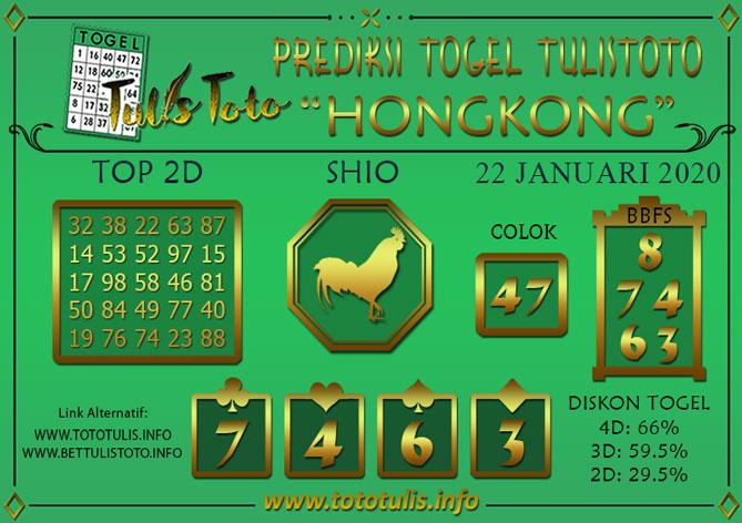 Prediksi Togel HONGKONG TULISTOTO 22 JANUARI 2020