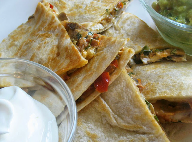 Mushroom and Goat Cheese Quesadillas with Sun-dried Tomatoes
