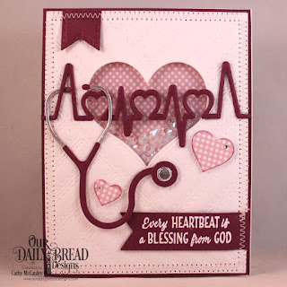 Our Daily Bread Designs Stamp/Die Duos: King of My Heart, Paper Collection: Pastels, Custom Dies: Quilted Background, Stethoscope, Pierced Heart, Layering Hearts, Double Stitched Pennant Flags