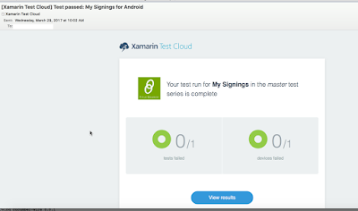 Xamarin Test Cloud notification