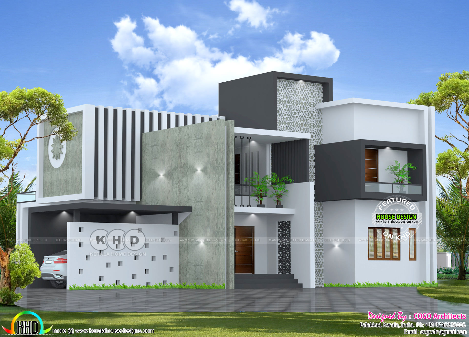 Royal contemporary house architecture - Kerala home design and floor
