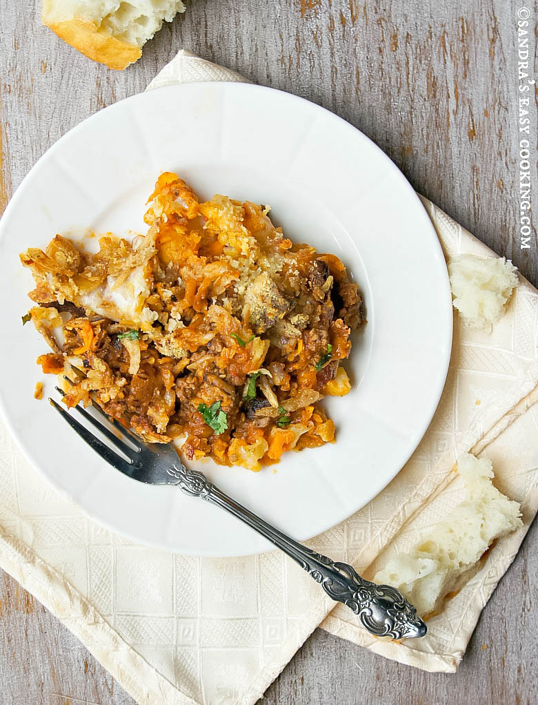 Fall recipe with seasonal ingredients for Beef and Vegetable Bake/Casserole