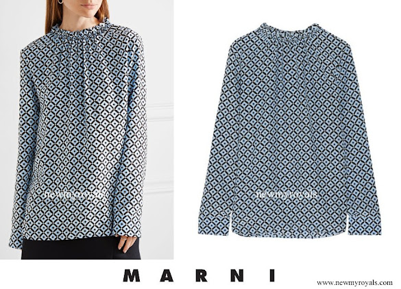 Princess Marie wore MARNI Gathered printed silk crepe de chine blouse