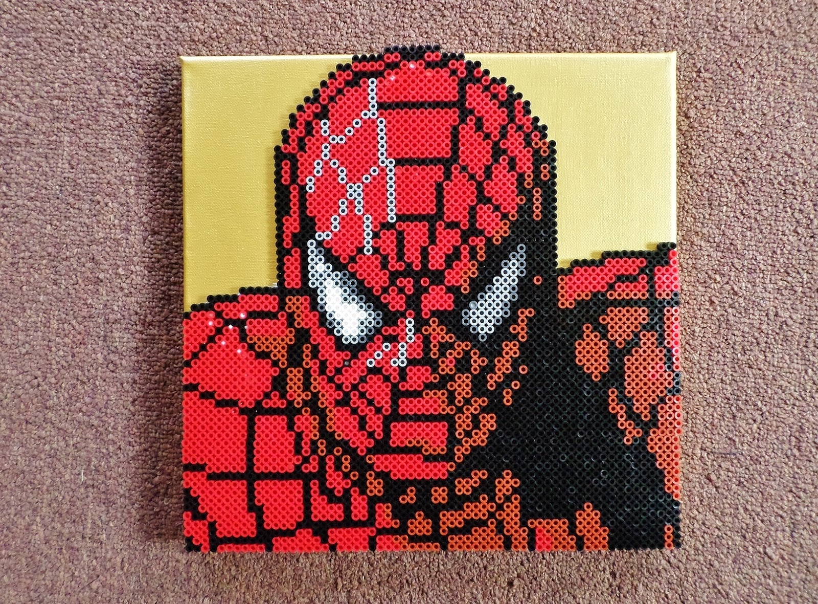 Long Black Fingers : Spiderman Perler On Canvas