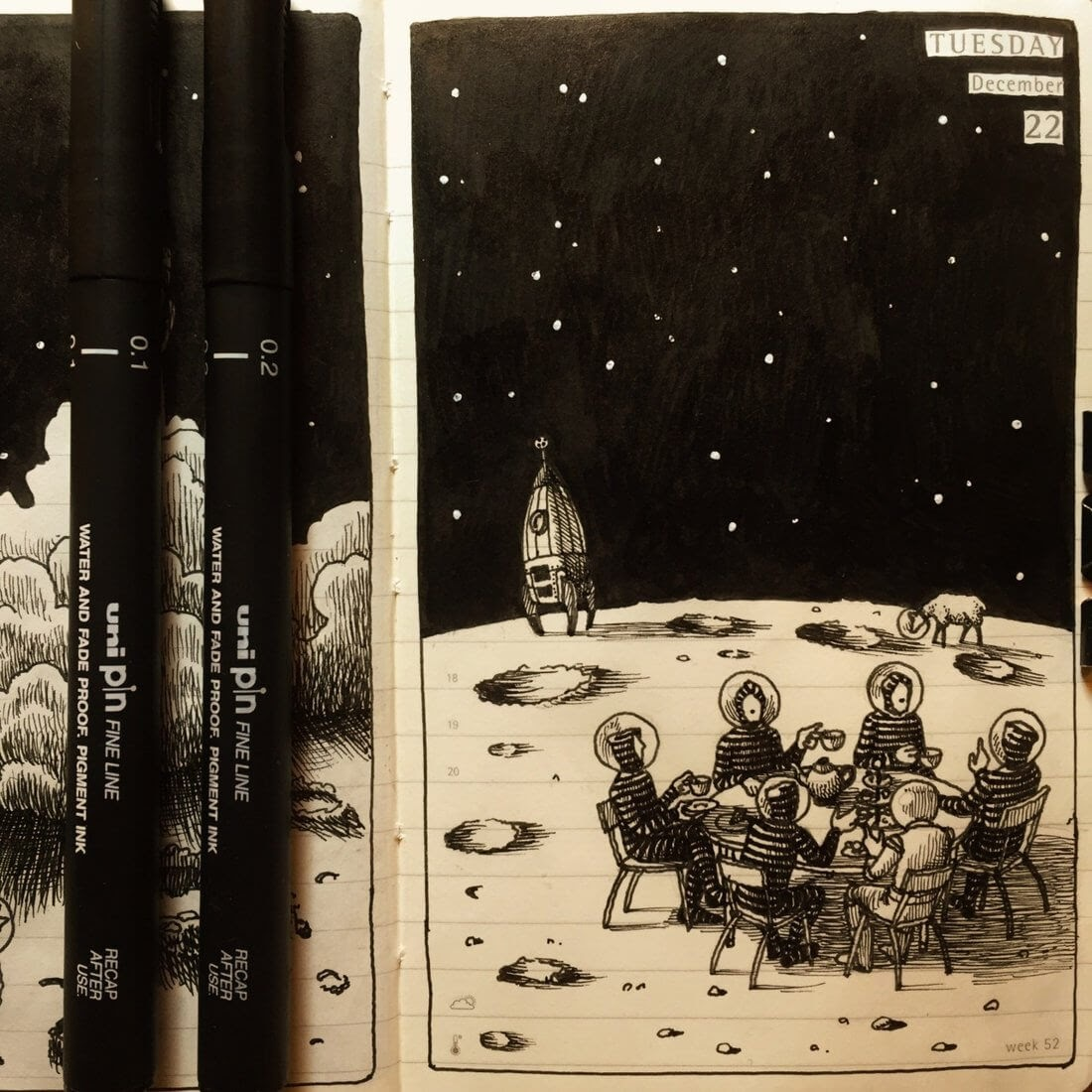 09-Conquering-the-Moon-Nina-Johansson-Moleskine-Diary-of-Surreal-Ink-Drawings-www-designstack-co