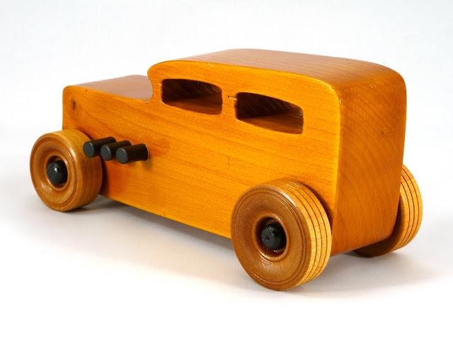 Leftt Rear - Wooden Toy Car - Hot Rod Freaky Ford - 32 Sedan - Pine - Amber Shellac - Black Pipes - Black Hubs