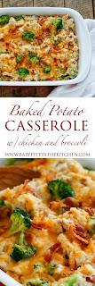Loaded Baked Potato Chicken and Broccoli Casserole - get the recipe on barefeetinthekitchen.com