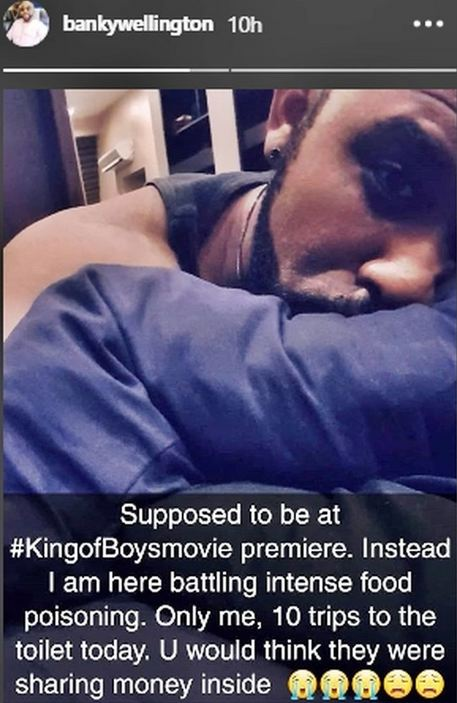 """Banky was unable to attend """"King of Boys"""" premiere as he battles intense food poisoning naijaslog"""