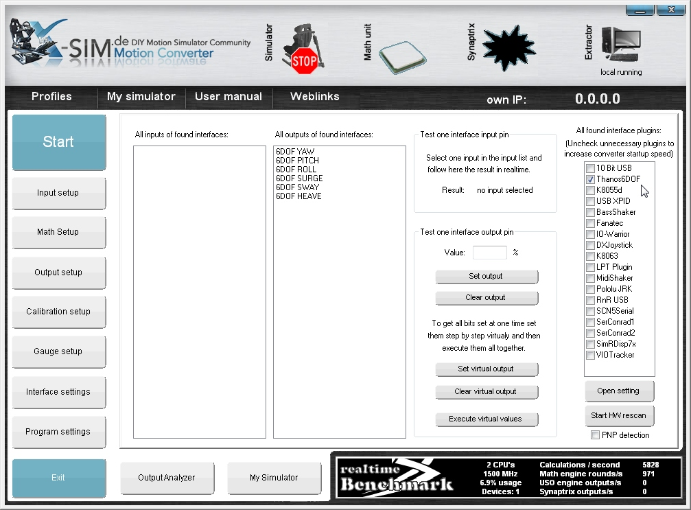Thanos 6DOF Motion Simulator Electronics: 6DOF software