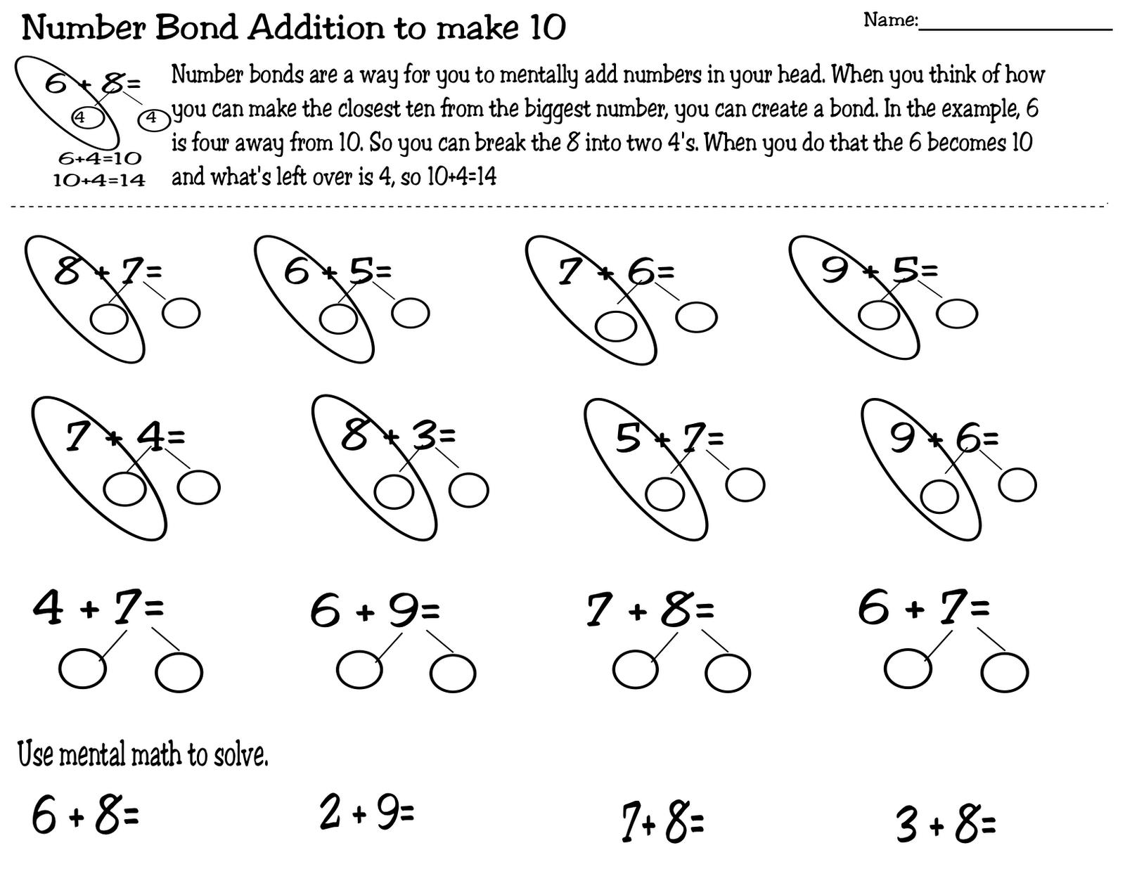 worksheet Number Bond Worksheets 1st Grade number bonds worksheets for first grade free library te ch g mrs t september 2012