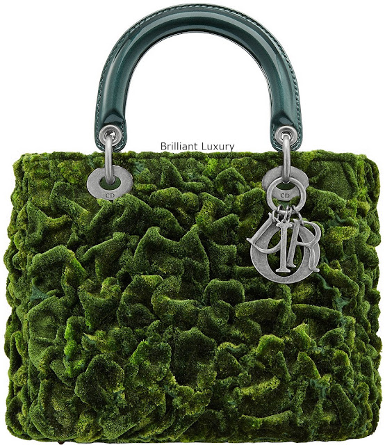 Brilliant Luxury♦Lady Dior mini bag, cotton silk embroidered with texture,create a vegetal moss effect,tie and dye effect green color, designer Lee Bul