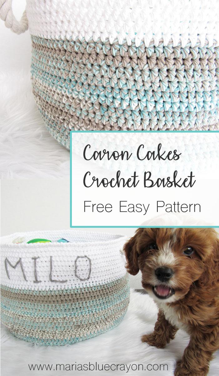 Caron Cotton Cakes Basket - Free Crochet Pattern - Maria\'s Blue Crayon