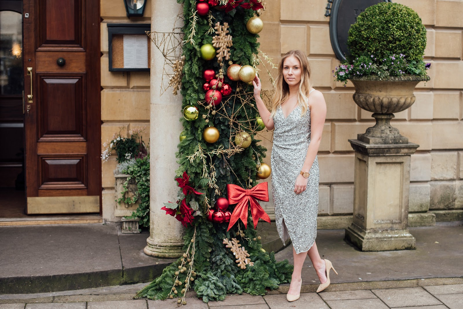 Fashion | The Only Dress You Need For The Christmas Party Season Silver Sequin ASOS Drape Dress outside the Ivy Brasserie Bristol with Christmas Decorations