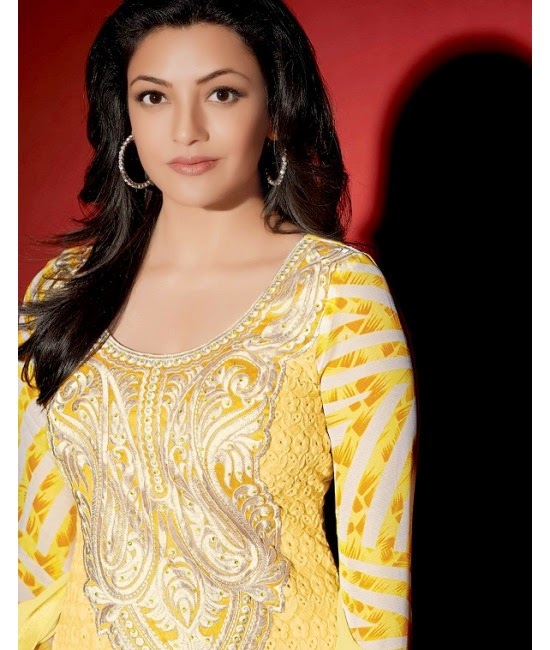 Kajal Agarwal in Yellow Designer Dress