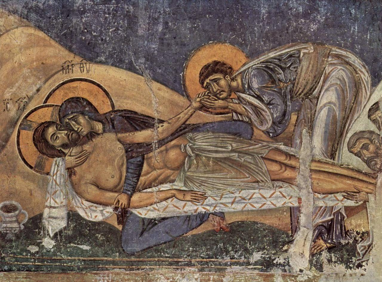 الفن البيزنطي الرومي ايقونة تنزيل المصلوب